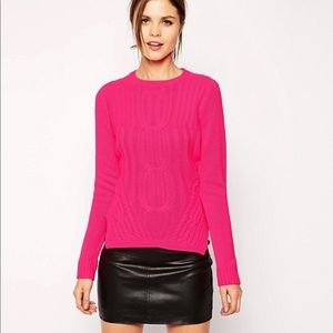 Ted Baker 'Daisuma' Cable Knit Sweater Hot Pink